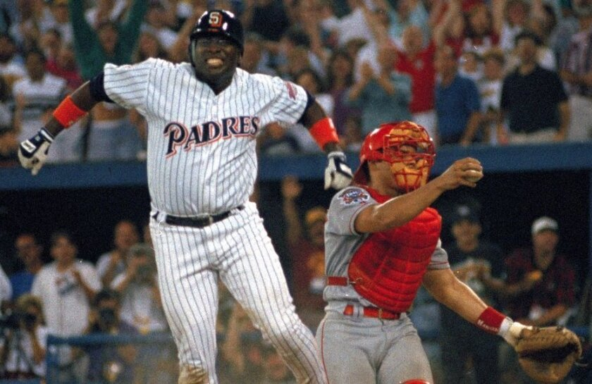 One of the most exciting games in All-Star history featured five lead changes and came down to this — Tony Gwynn racing around from first base on a double by Moises Alou and sliding home with the winning run in the 10th inning of the 1994 game in Pittsburgh.