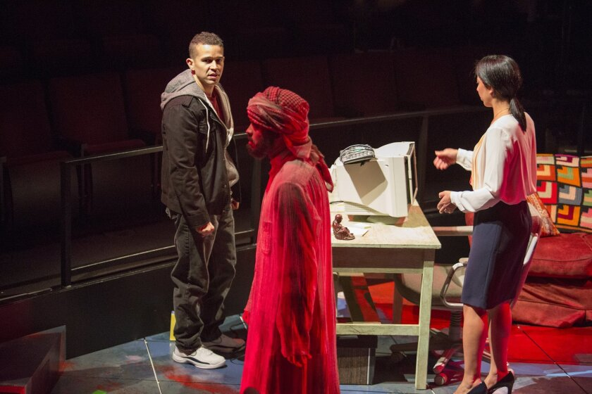 """Rey Lucas, M. Keala Milles, Jr. and Sarah Nina Hayon in the Old Globe's """"Water by the Spoonful."""""""