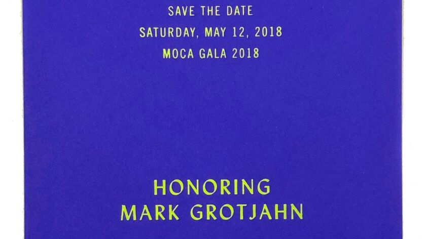 """The Museum of Contemporary Art in Los Angeles sent out """"save the date"""" cards for a gala honoring artist Mark Grotjahn, but Grotjahn has decided to decline the honor and one of the museum's artist-board members has resigned."""