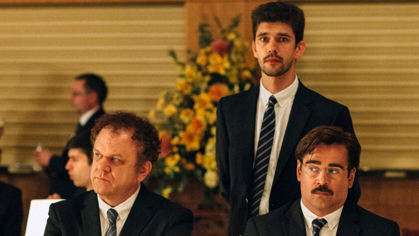 """John C. Reilly, left, Ben Whishaw and Colin Farrell in """"The Lobster."""""""