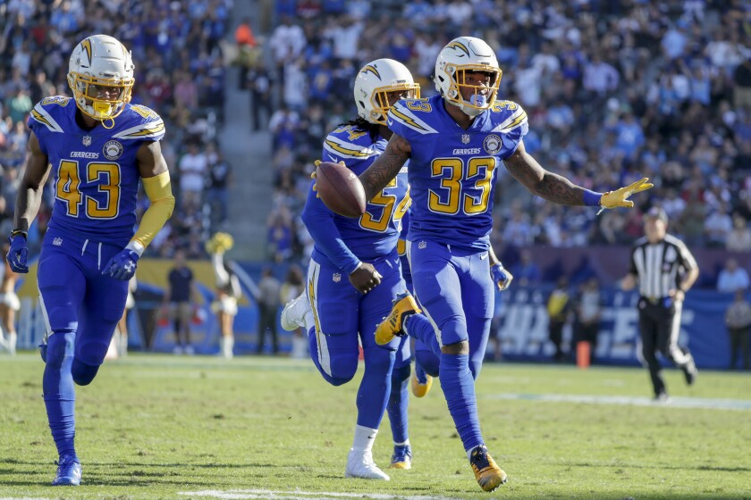 Chargers safety Derwin James celebrates after intercetpting a pass from Cardinals quarterback Josh Rosen at StubHub Center.
