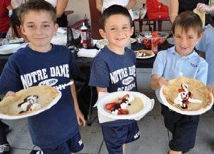 Leo Pellegrino, Ryan O'Leary and Matthew Davila ready to enjoy their crepes!