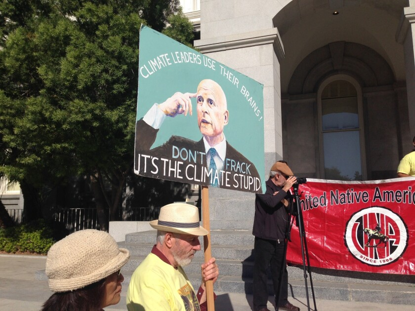Jerry Brown fracking sign