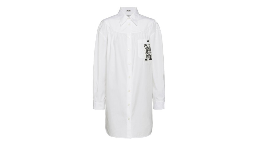 People who buy this cotton poplin shirt can have any initial they'd like patched onto the front, as