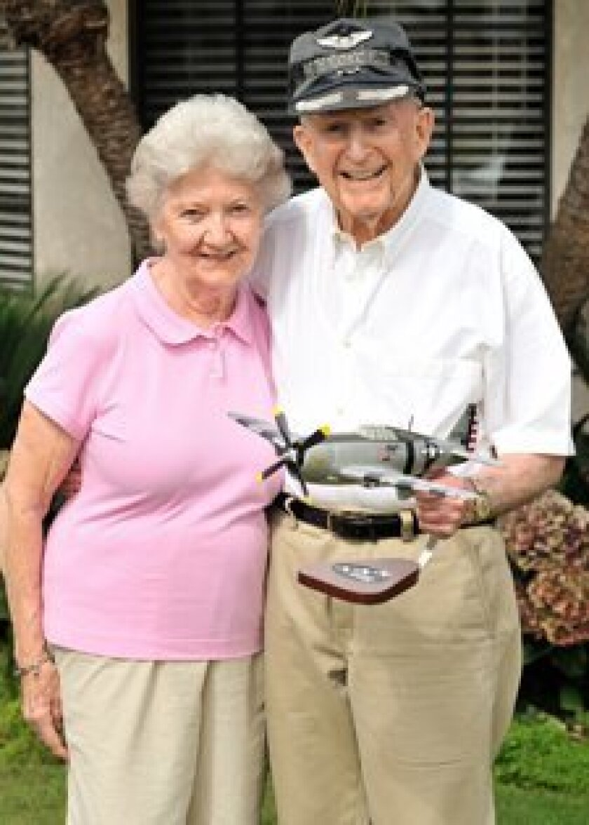 WWII combat fighter pilot Selwyn Lurie with his wife, Barbara.  Photo/Jon Clark