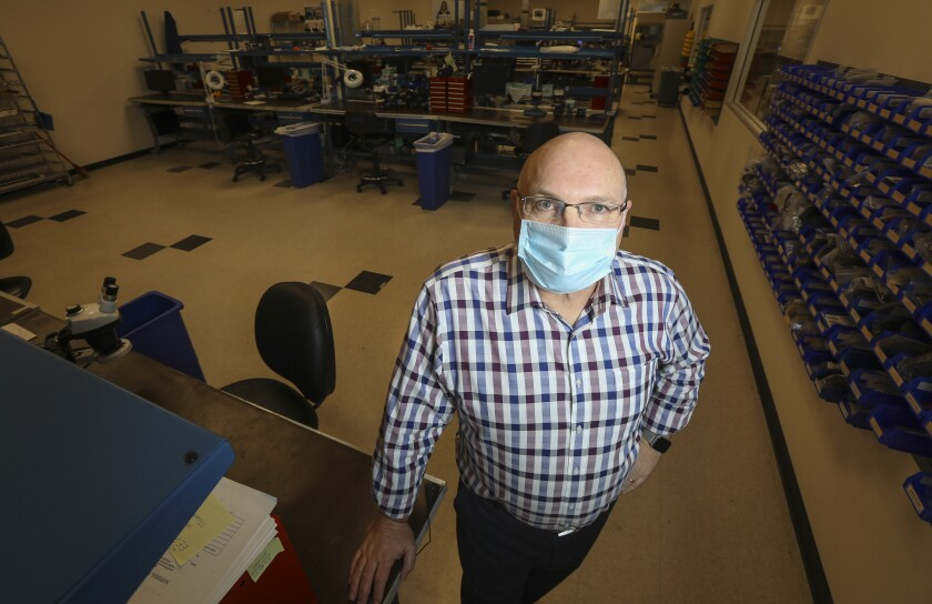 Greg DeGeller, president of Quantum Design, applied early for a federal stimulus loan after being forced to shut down manufacturing of research equipment because of the coronavirus. He learned April 18 that his loan application did not go through before the Paycheck Protection Program ran out of money.