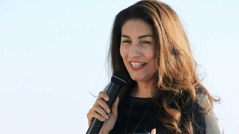 Sarah Ansari, clothes designer of a line called Artizara and host of the fashion show in Leucadia Su