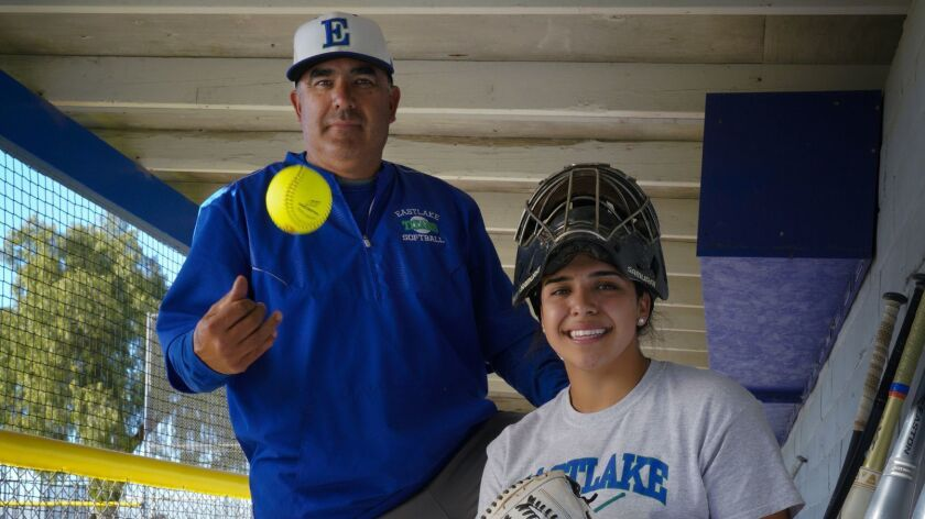 Eastlake High School softball player, Sharlize Palacios who plays catcher for the Titans, along with