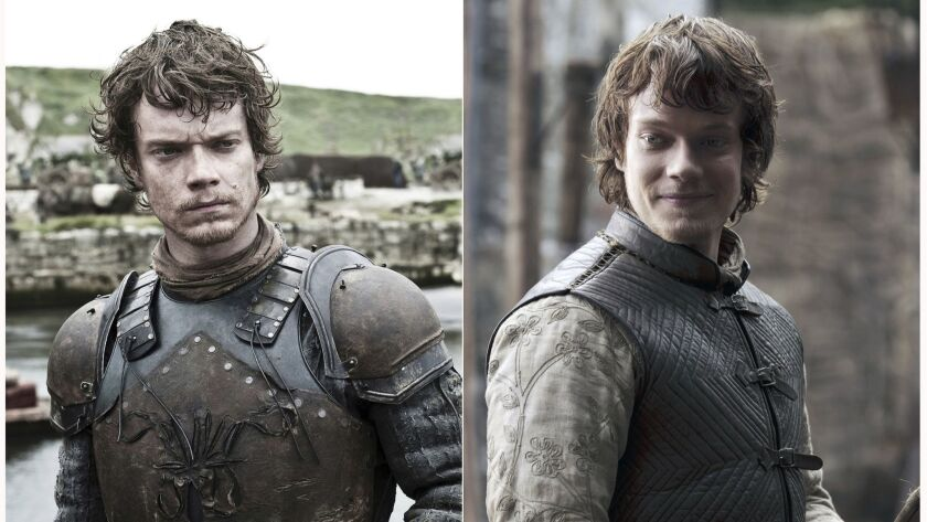 """This combination photo of images released by HBO shows Alfie Allen portraying Theon Greyjoy in """"Game"""