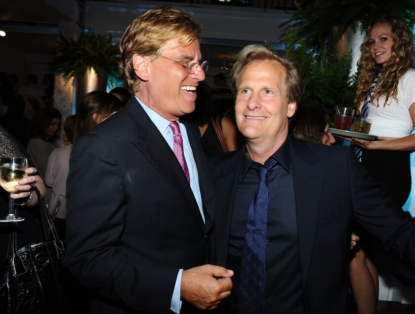 Writer Aaron Sorkin and actor Jeff Daniels attend the after-party for HBO's new series 'The Newsroom' at Boulevard3 in Hollywood.