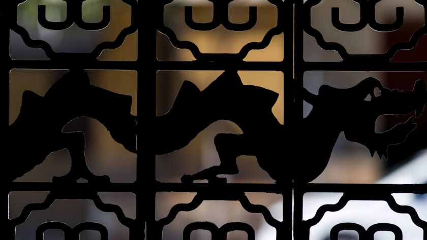 PASADENA, CA - DECEMBER 05: A dragon adorns the front gate of the USC Pacific Aasia Museum, photogra