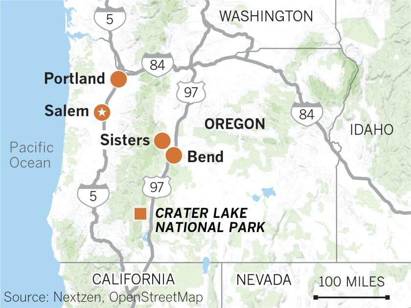 Map of Oregon showing Portland, Salem, Bend and Sisters, Crater Lake National Park, Highway 97.