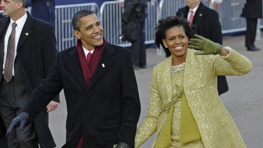 A decade after President Obama and First Lady Michelle Obama first walked the Inaugural Parade route, Democratic candidates are vying to see who can lay claim to the coalition that put him in office and the optimism he generated among many voters.