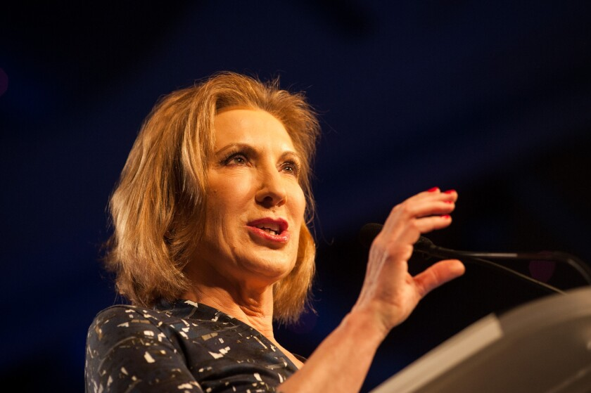 Carly Fiorina addresses the Western Conservative Summit in Denver last week.