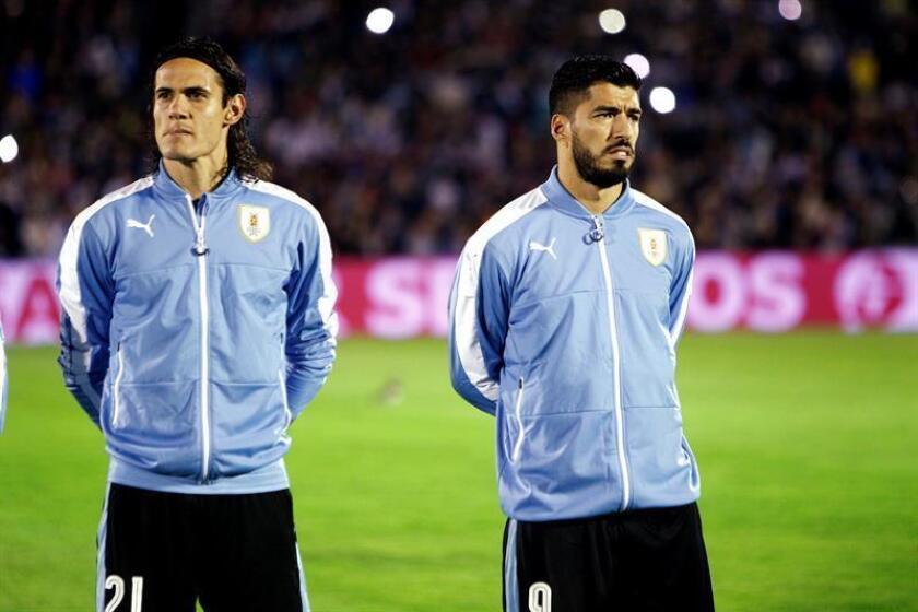 En la imagen, los jugadores uruguayos Edinson Cavani (i) y Luis Suárez (d). EFE/Archivo