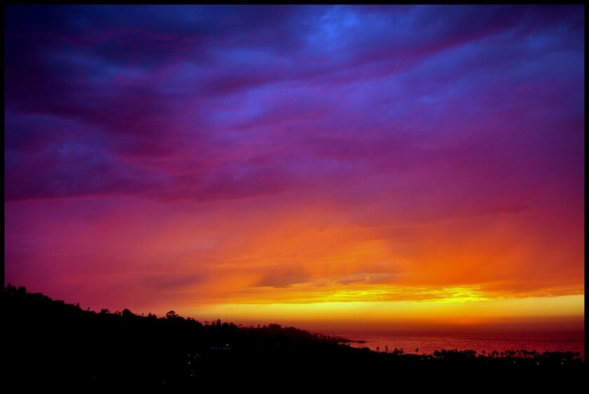 The monsoonal weather left a spectacular sunset over La Jolla on Monday. Photo: Greg Wiest