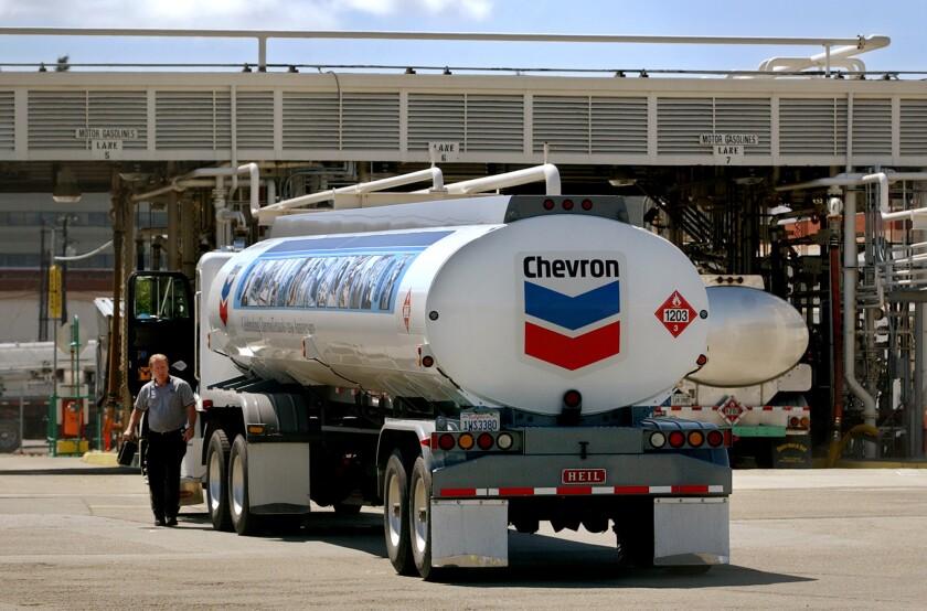 A Chevron tanker.