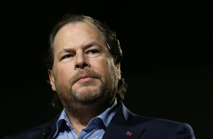 Salesforce co-CEO Marc Benioff. The departure of Keith Block leaves Benioff as the company's sole CEO.