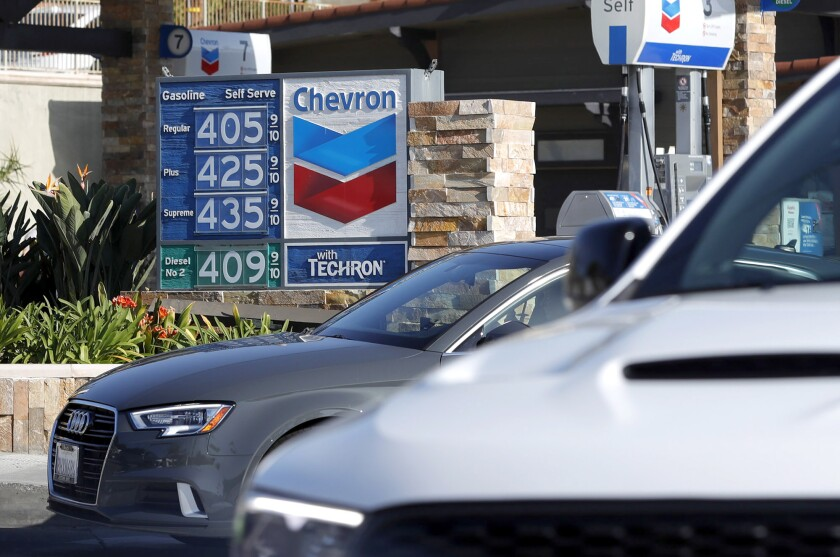 A Chevron station on the corner of Legion Street and Coast Highway in Laguna Beach on Monday.