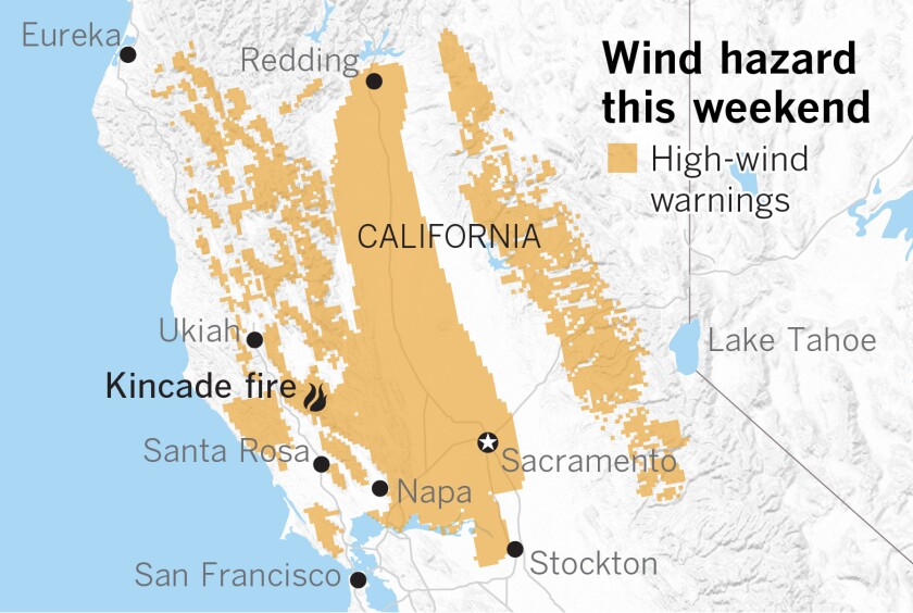 Northern California Fire Map Dangerous winds expected in Northern California fire areas   Los
