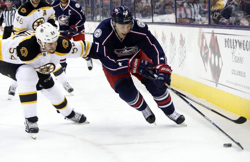 Columbus Blue Jackets' Jack Johnson, right, looks for an open shot as Boston Bruins' Adam McQuaid defends during the second period of an NHL hockey game Tuesday, Feb. 16, 2016, in Columbus, Ohio. (AP Photo/Jay LaPrete)