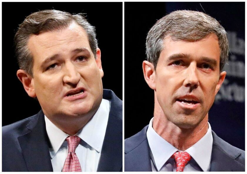 In a closely watched Senate race in Texas, incumbent GOP Sen. Ted Cruz, left, is facing a challenge from Democratic Rep. Beto O'Rourke.