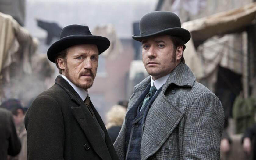 "Jerome Flynn, left, and Matthew Macfadyen star as detectives in Victorian England in ""Ripper Street."""