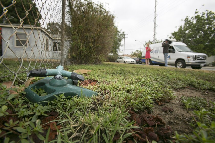 A lawn sprinkler is seena at the Whitney's home lawn, as television crews report on California's drought in Glendora, Calif., Thursday, July 17, 2014. The Southern California couple who scaled back watering due to drought received a letter from the city of Glendora warning that they could face fine