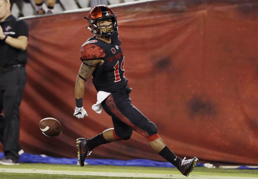 San Diego State running back Donnel Pumphrey scores a touchdown during the first half against San Jose State on Oct. 21.