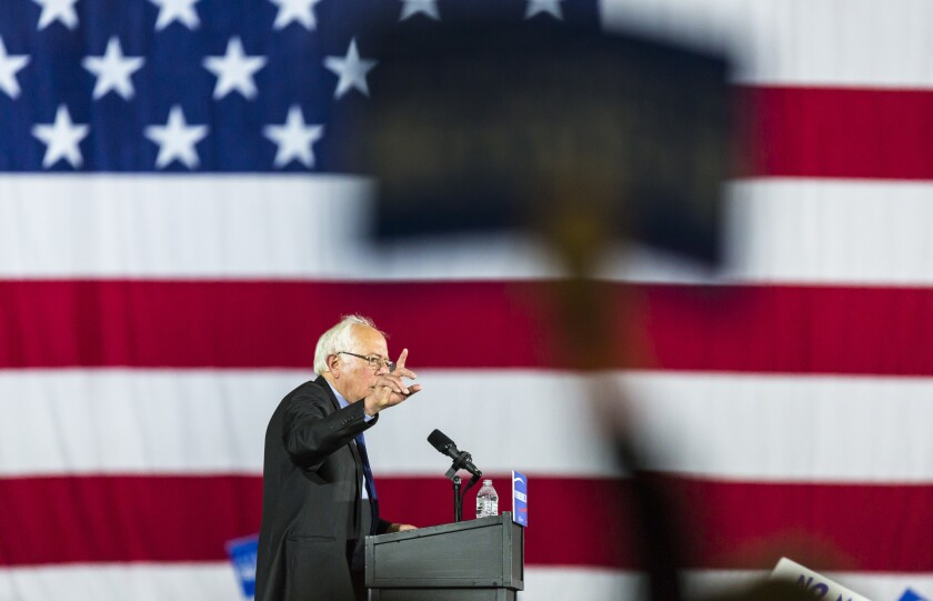 Democratic presidential candidate Sen. Bernie Sanders (I-Vt.), speaks at a campaign stop in Madison, Wis., on Saturday.