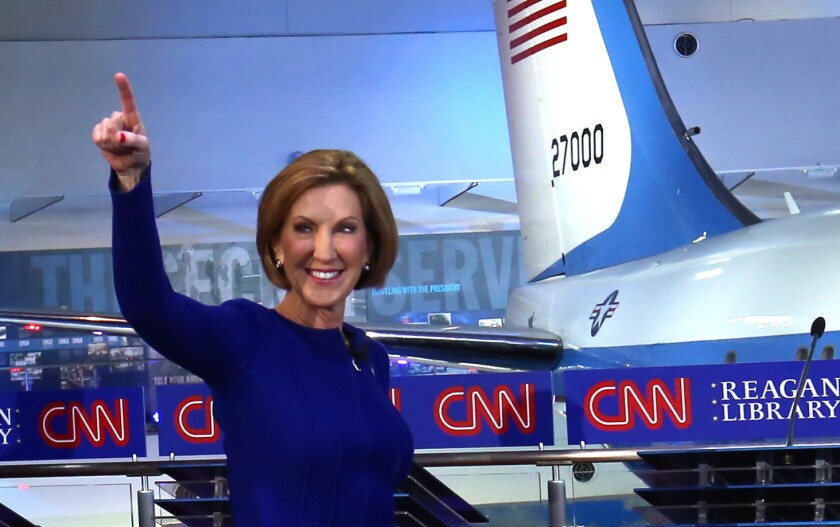 Number-one in fabrications about Planned Parenthood? Carly Fiorina at the start of Wednesday's GOP debate.