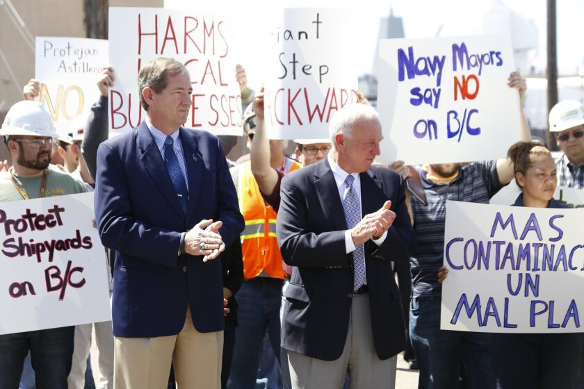 "Len Hering, left, the former ""navy mayor"" of San Diego, joins former San Diego Mayor Jerry Sanders in kicking off a campaign to repeal the Barrio Logan community plan."
