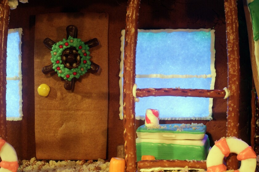 Front door of finished gingerbread house.