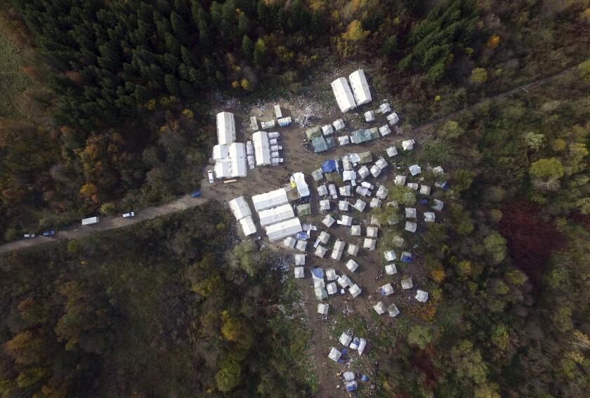 An aerial photo of the Vucjak refugee camp outside Bihac, northwestern Bosnia.