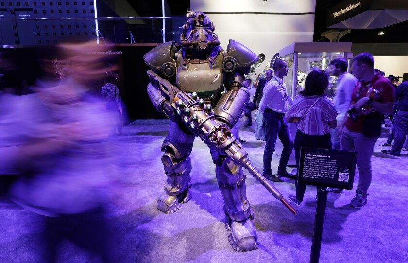 """LOS ANGELES, CA -- JUNE 11, 2019: A life-sized T-51b Power Armor statue from """"Fallout 4"""" on display"""