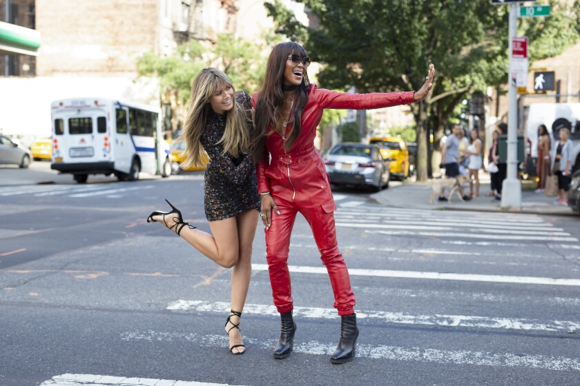 Heidi Klum and Naomi Campbell in a scene from 'Making The Cut' in New York