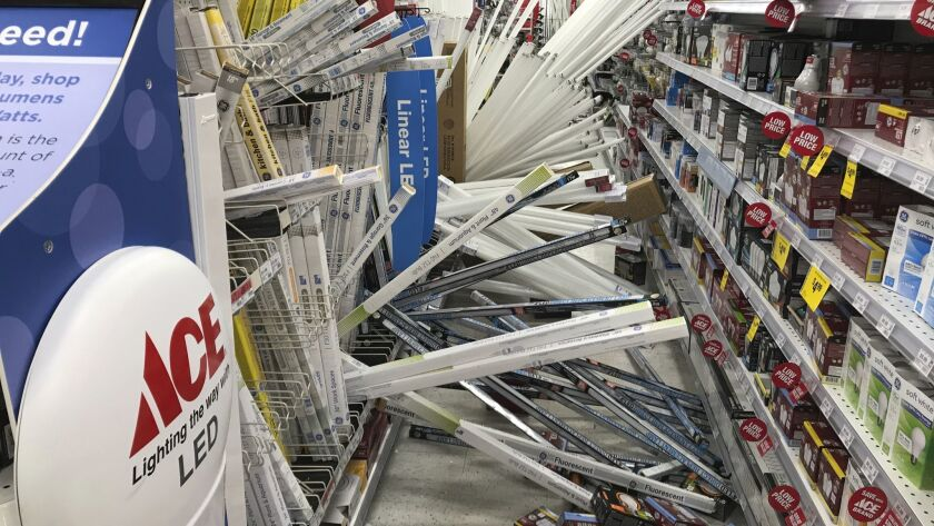 A magnitude 7.0 earthquake shook merchandise from the shelves at Andy's Ace Hardware in Anchorage on Friday.