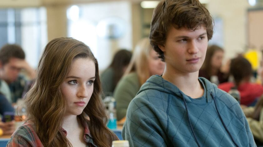 Left to right: Kaitlyn Dever plays Brandy Beltmeyer and Ansel Elgort plays Tim Mooney in the movie