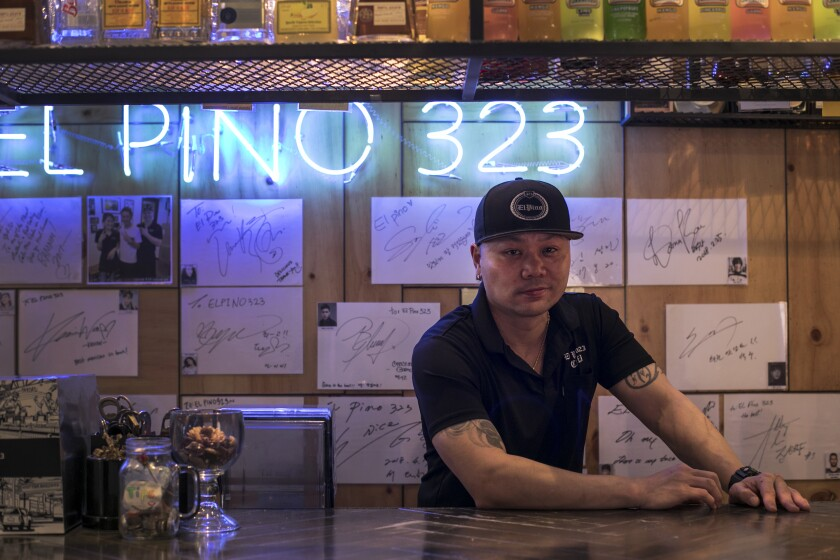 Christian Morales in the bar of his Mexican restaurant, El Pino 323, in Seoul, South Korea.