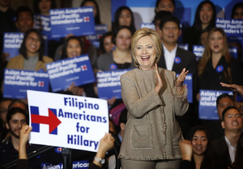 Hillary Clinton has a wide lead over Trump in a new survey of Asian American voters