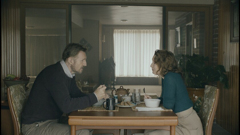 """Liam Neeson, left, and Lesley Manville in """"Ordinary Love."""""""