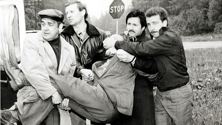 Tolkachev being seized by KGB officers on June 9, 1985. Image from the book 'The Billion Dollar Spy' by David Hoffman. Published by Doubleday.