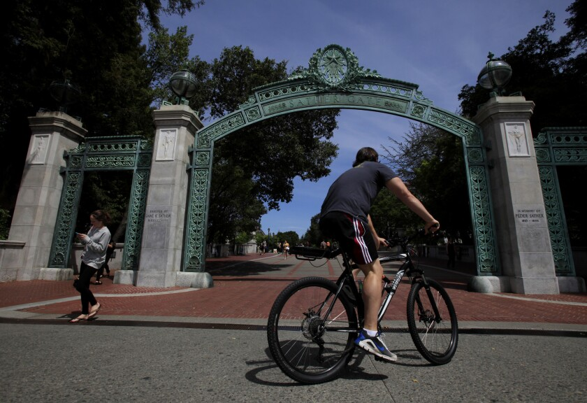 Sather Gate at UC Berkeley, which until the 1960s charged no tuition to undergraduate students who were residents of California.
