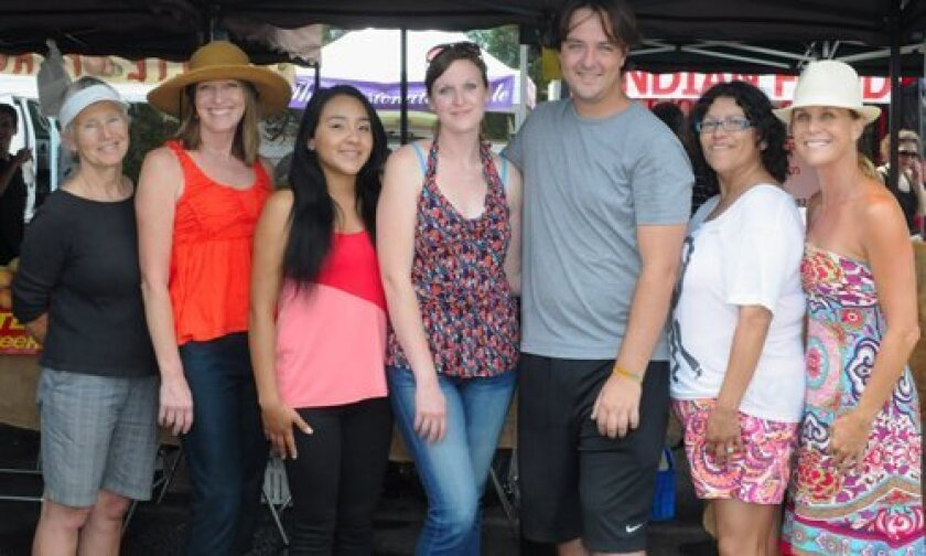 (L-R) Del Mar Farmers Market Director of Public Relations Leslie Robson, Scholarship Director Lisa Renner, Scholarship recipients Aracely Vega and Sonja Knowles, previous recipient Jason Froelich, Market Manager Estela Maciel, Board President Nicole Holliday. Photos/McKenzie Images