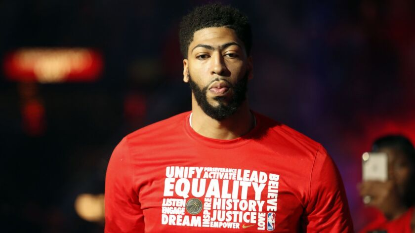 New Orleans Pelicans forward Anthony Davis (23) is introduced before NBA basketball game against the