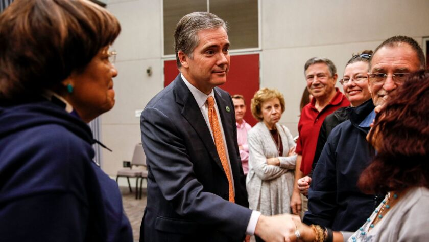 David Hadley, seen here greeting voters after participating in a 2016 Assembly candidates' forum, an