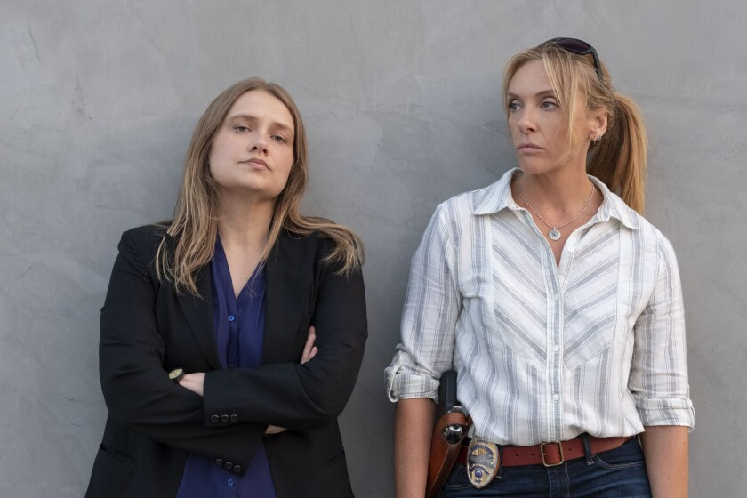 "Merritt Wever, left, and Toni Collette play detectives from different towns who come together to catch a serial rapist in the Netflix limited series ""Unbelievable."""