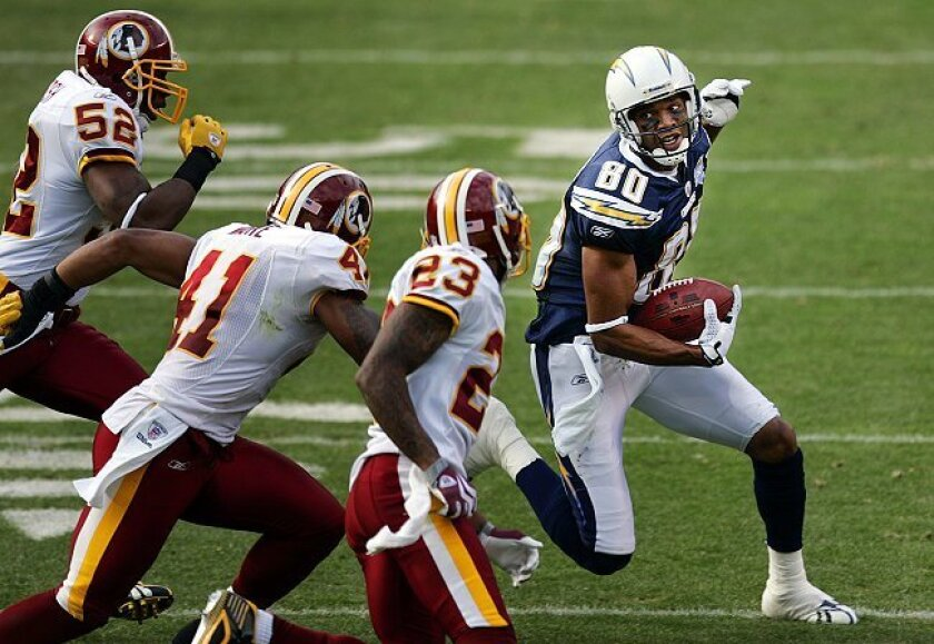 Chargers receiver Malcom Floyd had a big first half, with six catches for 109 yards in the first quarter.