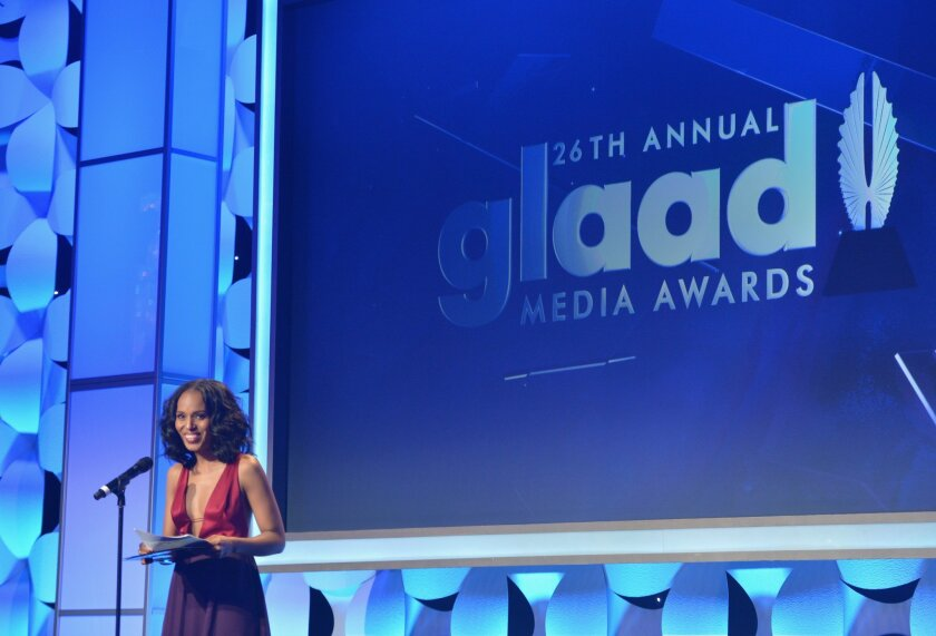 Actress Kerry Washington accepts the Vanguard Award during the 26th annual GLAAD Media Awards on March 21 at the Beverly Hilton in Beverly Hills.