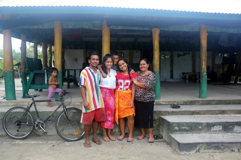 Mimi Najmabadi with her Samoan hosts, the Sila family. L-R: Sila (dad), Mimi, Vitale (brother), Bridget (sister) and Mele (mom).
